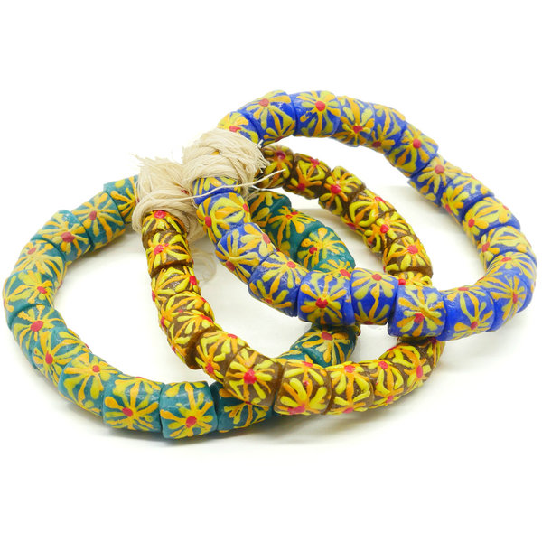 Sena Handmade African Tube Beads From Recycled Glass